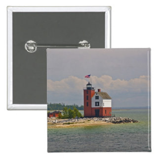 A view of Round Island Light Station. Pinback Button