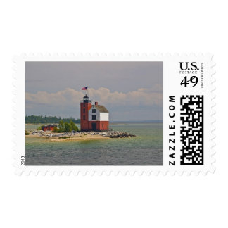 A view of Round Island Light Station. Postage