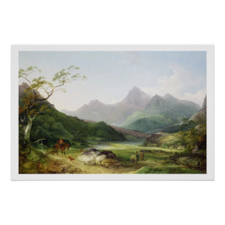A View of Snowdon from Capel Curig, 1787 (oil on c Poster