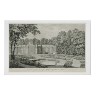A View of the Aviary and Flower Garden at Kew, fro Poster