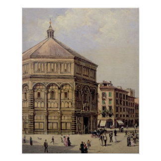 A View of the Baptistry in Florence (panel) Poster