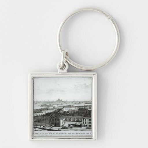 A View of the Cities of London and Westminster Silver-Colored Square Keychain