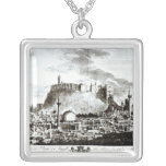 A view of the city and castle of Aleppo, Syria Square Pendant Necklace