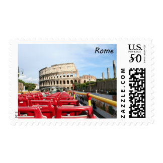 A view of the Colosseum in Rome from a tour bus Postage