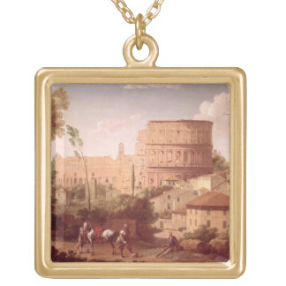 A View of the Colosseum with a Traveller, 1731 (oi Gold Plated Necklace