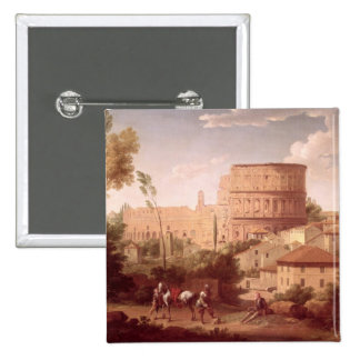 A View of the Colosseum with a Traveller, 1731 (oi Pinback Button