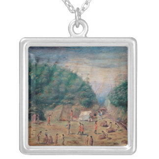 A View of the 'Endeavour's' Watering Place Silver Plated Necklace