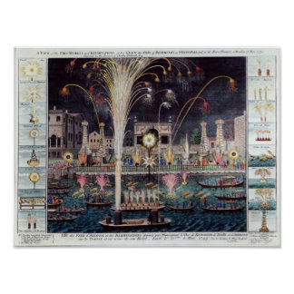 A view of the Fire-workes and Illuminations Poster