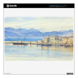 """A View of the Harbour at Cannes by Edward Lear 11"""" MacBook Air Decal"""