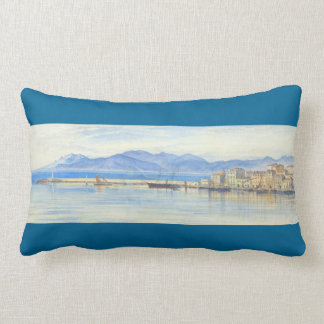 A View of the Harbour at Cannes by Edward Lear Lumbar Pillow