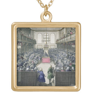A View of the House of Commons, engraved by B. Col Gold Plated Necklace