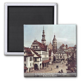 A View Of The Market Place Of Pirna Pirna 2 Inch Square Magnet