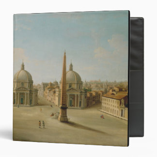 A View of the Piazza del Popolo (oil on canvas) 3 Ring Binder