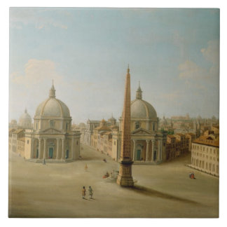 A View of the Piazza del Popolo (oil on canvas) Ceramic Tile