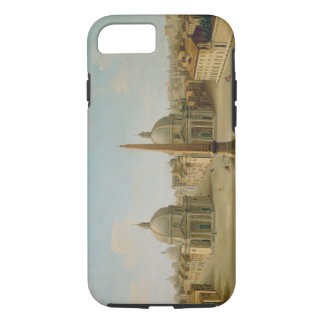 A View of the Piazza del Popolo (oil on canvas) iPhone 8/7 Case