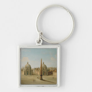A View of the Piazza del Popolo (oil on canvas) Keychain