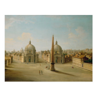 A View of the Piazza del Popolo (oil on canvas) Postcard