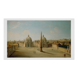 A View of the Piazza del Popolo (oil on canvas) Poster