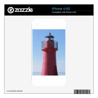 A view of the red harbor lighthouse along the Tusc Decal For The iPhone 4