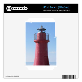 A view of the red harbor lighthouse along the Tusc iPod Touch 4G Decals
