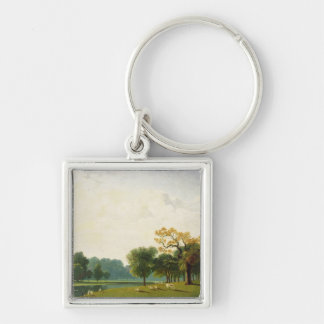 A View of the Serpentine, 1815 (oil on canvas) Silver-Colored Square Keychain