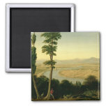 A View of the Tiber and the Roman Campagna 2 Inch Square Magnet