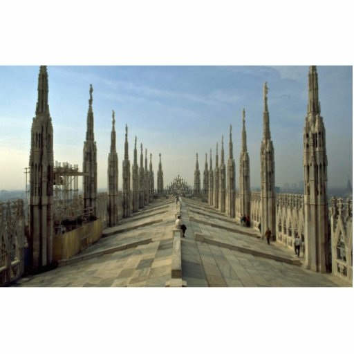 A view of the top of the Duomo, (cathedral) Milan Statuette