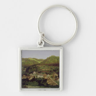 A View of the Village of Tenniken, 1846 Silver-Colored Square Keychain