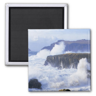 a view of the waves crashing against rocks 2 inch square magnet