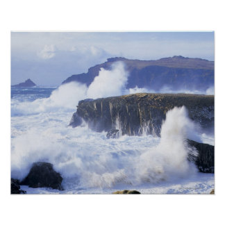a view of the waves crashing against rocks poster