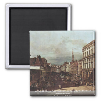 A View Of Vienna From The Southwest Towards 2 Inch Square Magnet