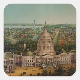 A View Of Washington DC Square Stickers