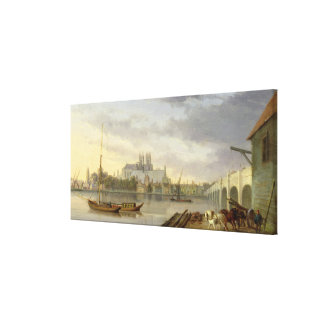 A View of Westminster Bridge and the Abbey from th Canvas Print