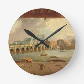 A View of Westminster Bridge (oil on panel) Round Wall Clock
