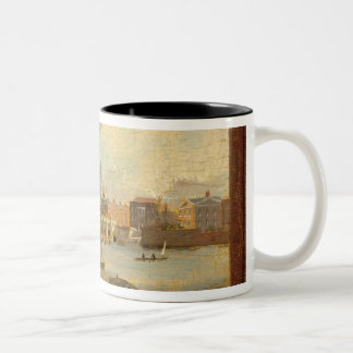 A View of Westminster Bridge (oil on panel) Two-Tone Coffee Mug