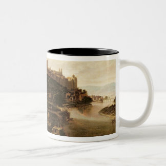 A View of Windsor Castle with Figures and Vessels Two-Tone Coffee Mug