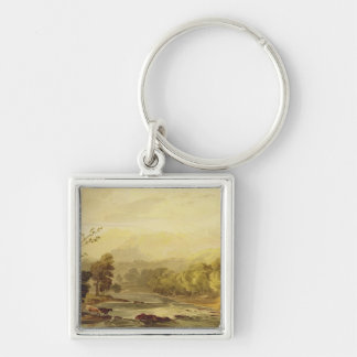A View on the Brathay near Ambleside (w/c over tra Silver-Colored Square Keychain
