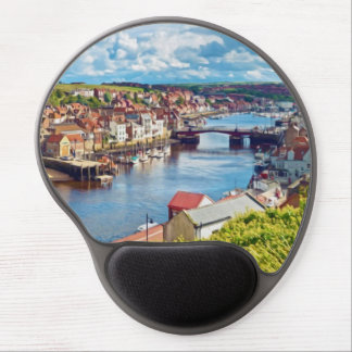 A view over Whitby town and harbor Gel Mouse Pads