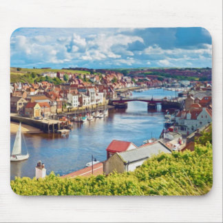 A view over Whitby town and harbor Mousepad
