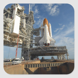 A view Space Shuttle Atlantis on Launch Pad 39A Square Sticker