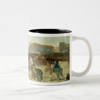 A Village Bullfight Two-Tone Coffee Mug