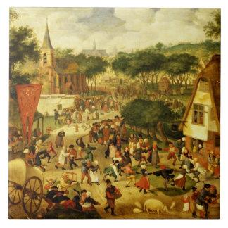A Village Fair Large Square Tile