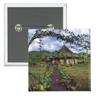 A village in the Highlands, Goroka, Papua New 2 Inch Square Button