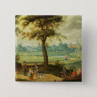 A Village Landscape by a River Button