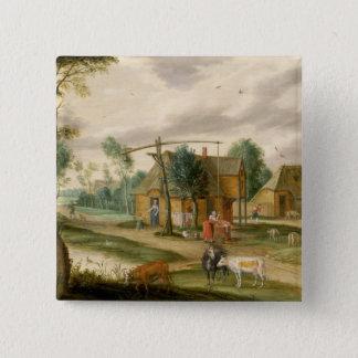 A village landscape pinback button