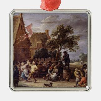 A Village Merrymaking Metal Ornament