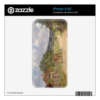A Village Scene (oil on canvas) Decal For iPhone 4