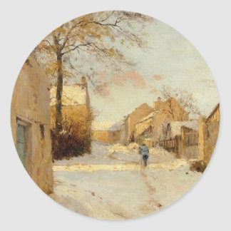 A Village Street in Winter by Alfred Sisley Classic Round Sticker