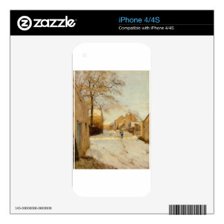 A Village Street in Winter by Alfred Sisley iPhone 4S Decal