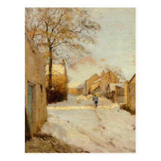 A Village Street in Winter by Alfred Sisley Postcard